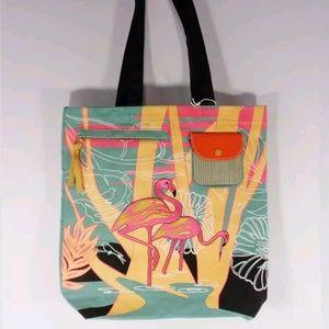 Handbags - NAUTICAL FLAMINGO BIRD TOTE AND MINI CLUTCH BAGS